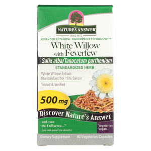 Nature's Answer - White Willow With Feverfew - 60 Vcaps