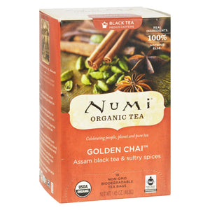 Numi Golden Chai Spiced Assam Black Tea - 18 Tea Bags - Case Of 6