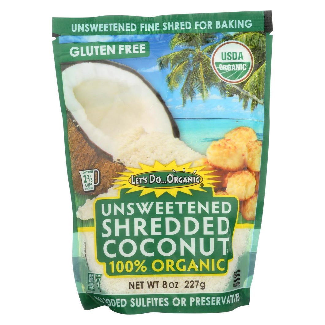 Let's Do Organics Organic Shredded - Coconut - Case Of 12 - 8 Oz.