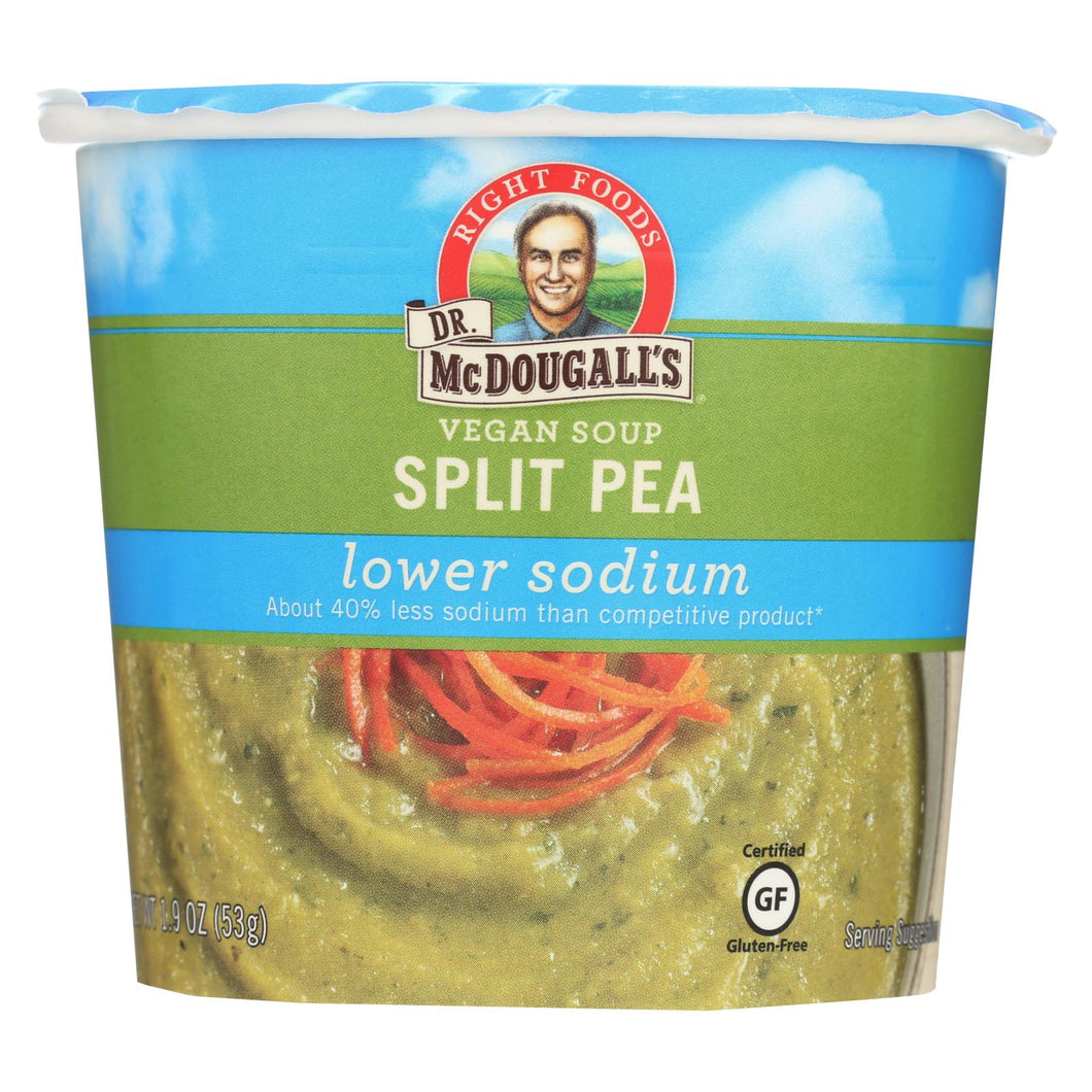 Dr. Mcdougall's Vegan Split Pea Lower Sodium Soup Cup - Case Of 6 - 1.9 Oz.