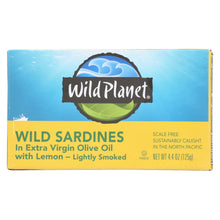 Load image into Gallery viewer, Wild Planet Sardines In Oil - Lemon - Case Of 12 - 4.375 Oz.