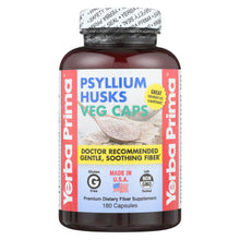 Load image into Gallery viewer, Yerba Prima Psyllium Husks Veg Caps - 625 Mg - 180 Vegetarian Capsules
