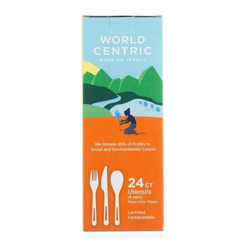 World Centric Assorted Corn Starch Flatware - Case Of 12 - 24 Count
