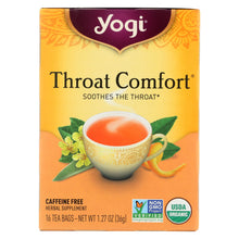 Load image into Gallery viewer, Yogi Organic Throat Comfort Herbal Tea Caffeine Free - 16 Tea Bags - Case Of 6