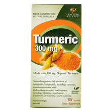 Load image into Gallery viewer, Genceutic Naturals Organic Turmeric - 300 Mg - 60 Capsules
