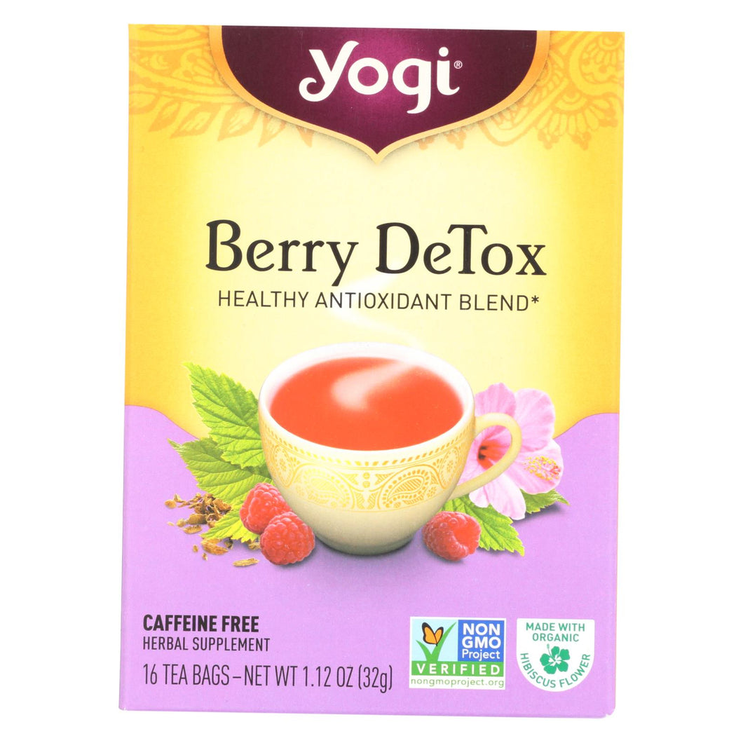 Yogi Detox Herbal Tea Caffeine Free Berry - 16 Tea Bags - Case Of 6