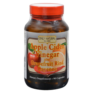 Only Natural Apple Cider Vinegar Plus Grapefruit Rind And Cayenne - 500 Mg - 90 Capsules