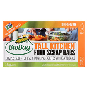 Biobag - 13 Gallon Tall Food Waste Bags - Case Of 12 - 12 Count