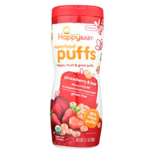 Load image into Gallery viewer, Happy Bites Organic Puffs Finger Food For Babies - Strawberry Puffs - Case Of 6 - 2.1 Oz