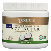 Load image into Gallery viewer, Spectrum Essentials Organic Coconut Oil - Unrefined - 15 Oz