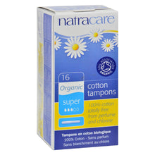 Load image into Gallery viewer, Natracare 100% Organic Cotton Tampons Super W-applicator - 16 Tampons