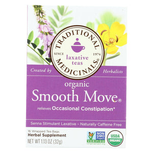 Traditional Medicinals Organic Smooth Move Herbal Tea - 16 Tea Bags - Case Of 6