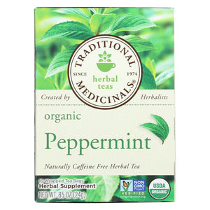 Traditional Medicinals Organic Peppermint Herbal Tea - Caffeine Free - Case Of 6 - 16 Bags
