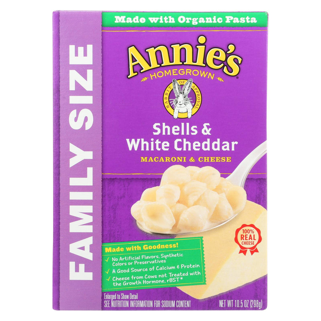 Annie's Homegrown Family Size Shells And White Cheddar Mac And Cheese - Case Of 6 - 10.5 Oz.