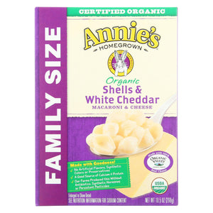 Annie's Homegrown Organic Family Size Shells And White Cheddar Macaroni And Cheese - Case Of 6 - 10.5 Oz.