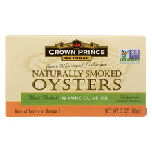 Load image into Gallery viewer, Crown Prince Oysters - Naturally Smoked In Pure Olive Oil - 3 Oz - Case Of 18