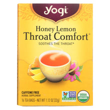 Load image into Gallery viewer, Yogi Throat Comfort Herbal Tea Caffeine Free Honey Lemon - 16 Tea Bags - Case Of 6