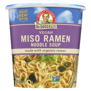Dr. Mcdougall's Vegan Miso Ramen Soup Big Cup With Noodles - Case Of 6 - 1.9 Oz.