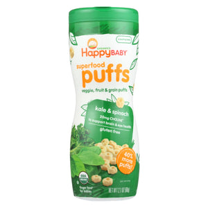 Happy Baby Organic Puffs Greens - 2.1 Oz - Case Of 6