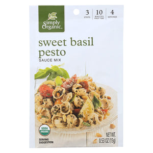 Simply Organic Sweet Basil Pesto Seasoning Mix - Case Of 12 - 0.53 Oz.