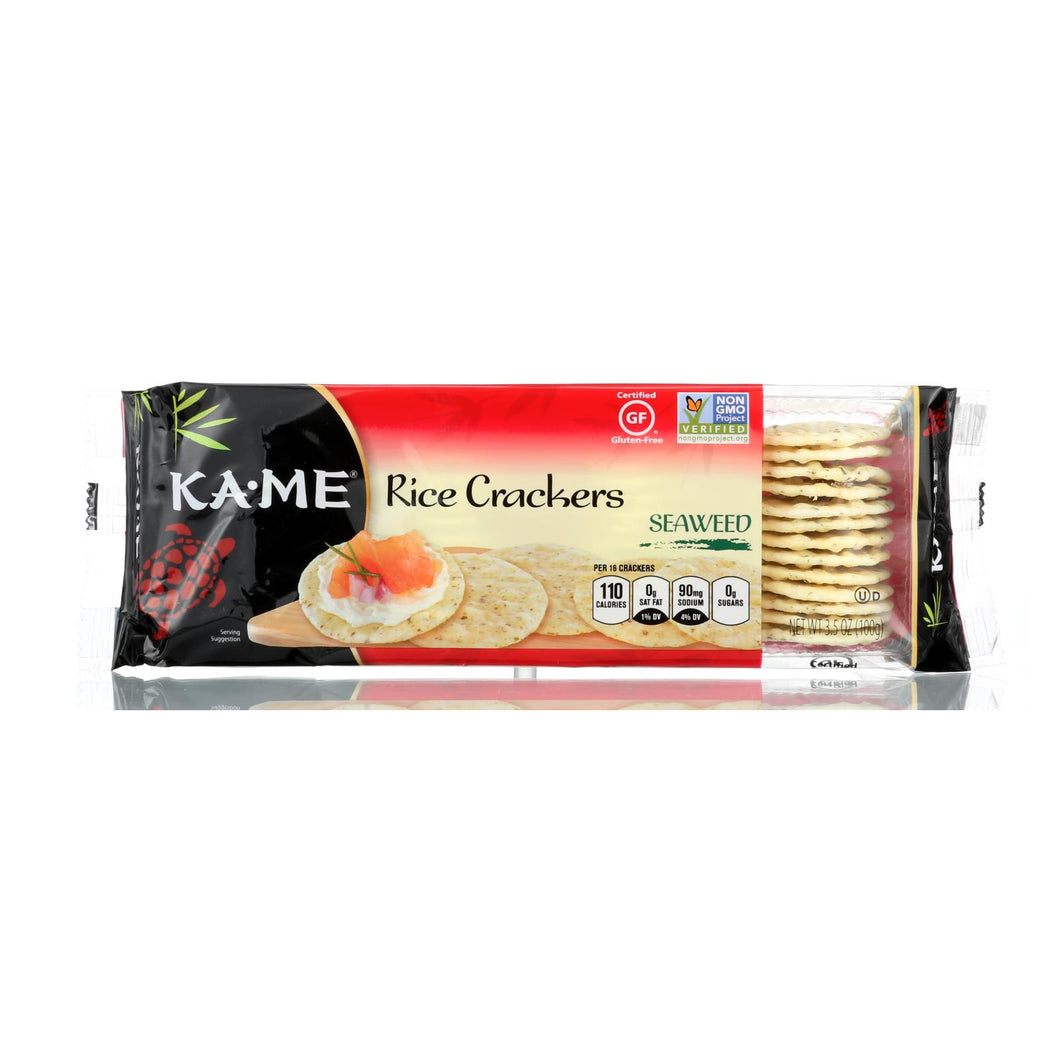 Ka'me Rice Crackers - Seaweed - Case Of 12 - 3.5 Oz.