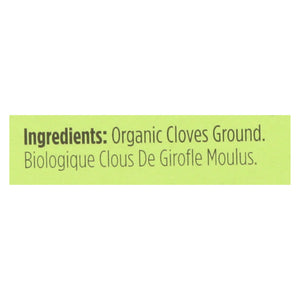Spicely Organics - Organic Cloves - Ground - Case Of 6 - 0.4 Oz.