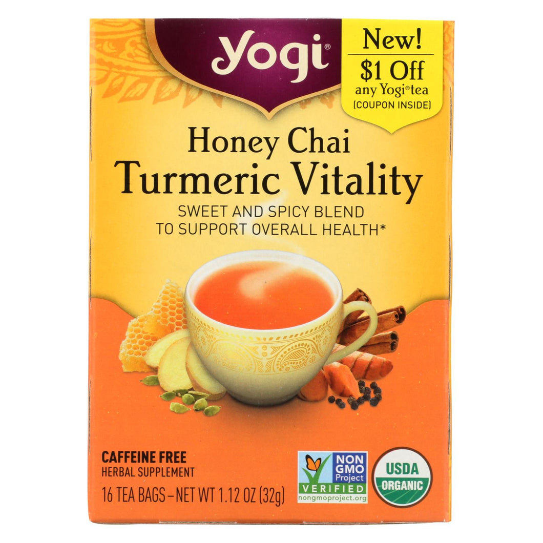 Yogi Tea - Organic - Honey Chai Turmeric - Case Of 6 - 16 Bag