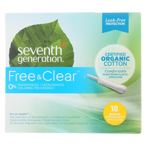 Seventh Generation - Free And Clear Tampons With Applicator - Regular - Case Of 6 - 18 Count
