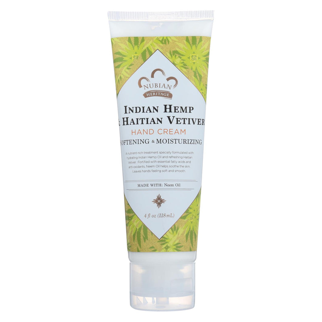 Nubian Heritage Hand Cream Indian Hemp And Haitian Vetiver - 4 Oz