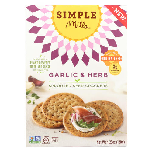 Simple Mills Sprouted Seed Crackers - Garlic & Herb - Case Of 6 - 4.25 Oz