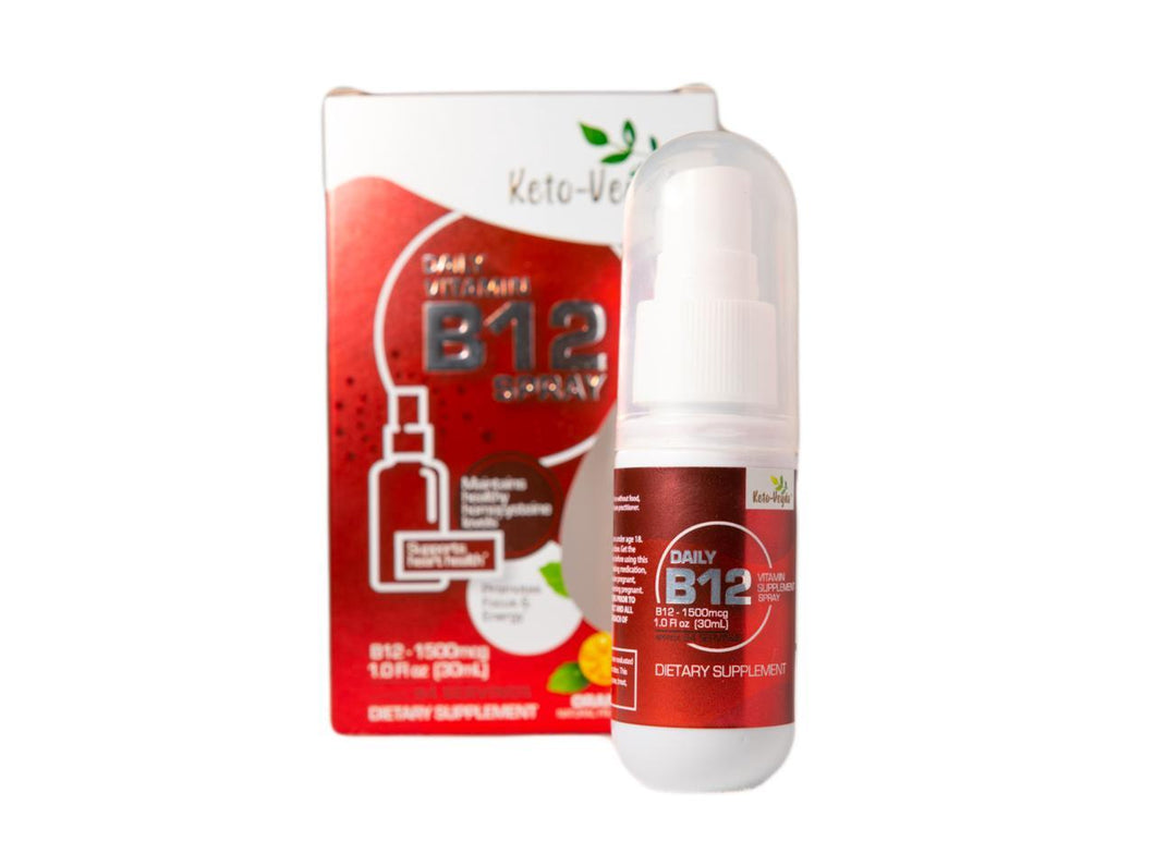 Keto-Veyda - Daily Vitamin B12 Spray - Natural Orange Flavor - 1 Fl Oz (94 Servings)