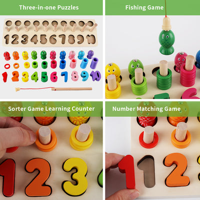 Sendida Wood Math Shape Puzzle Fishing Game Puzzles Toys 3 in 1