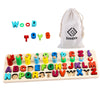 Alphabet Number Montessori Toys - Early Learning Math Toys Wood Puzzles ABC Letters Educational Sorting Count Toy