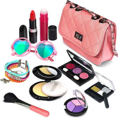 Sendida Pretend Makeup Set Toy with Pink Shoulder Bag for girls