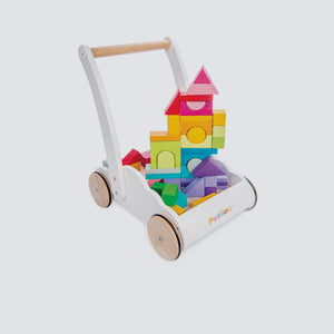 Baby Walker with Wooden Bricks, Best Eco Friendly Baby Toys, Plastic Free Toys, Wooden Toys