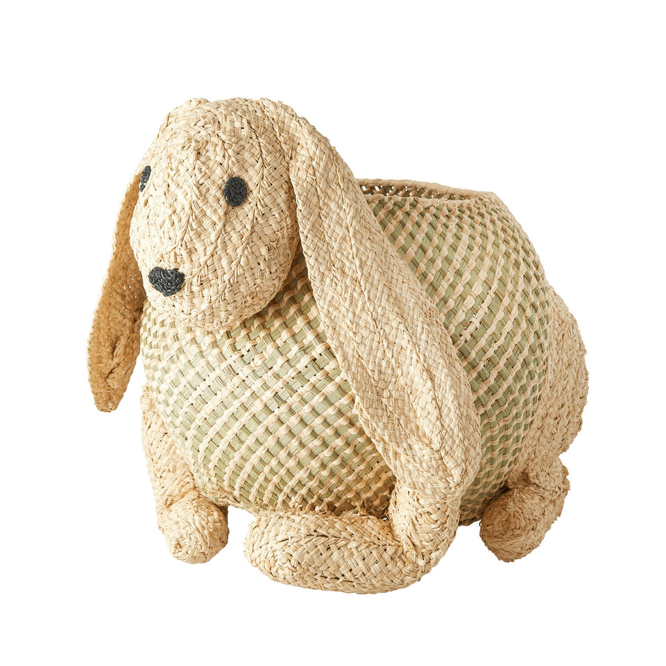 Rabbit Raffia Basket - PomPom