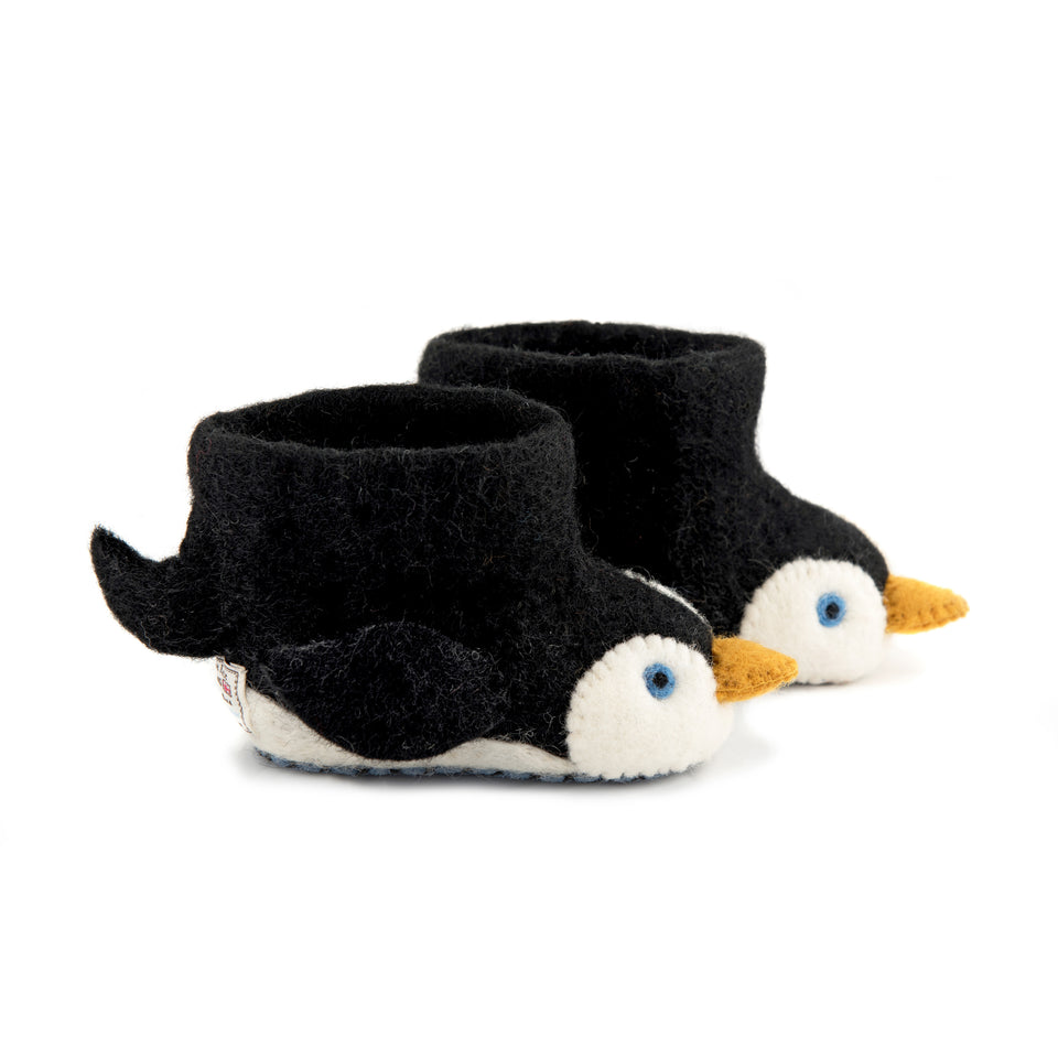 Pete the Penguin Children's Slippers - PomPom