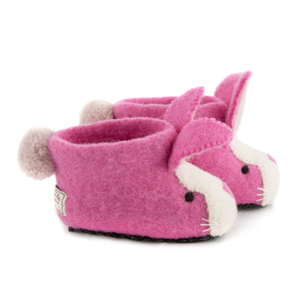 Rosy Rabbit Children's Slippers - PomPom