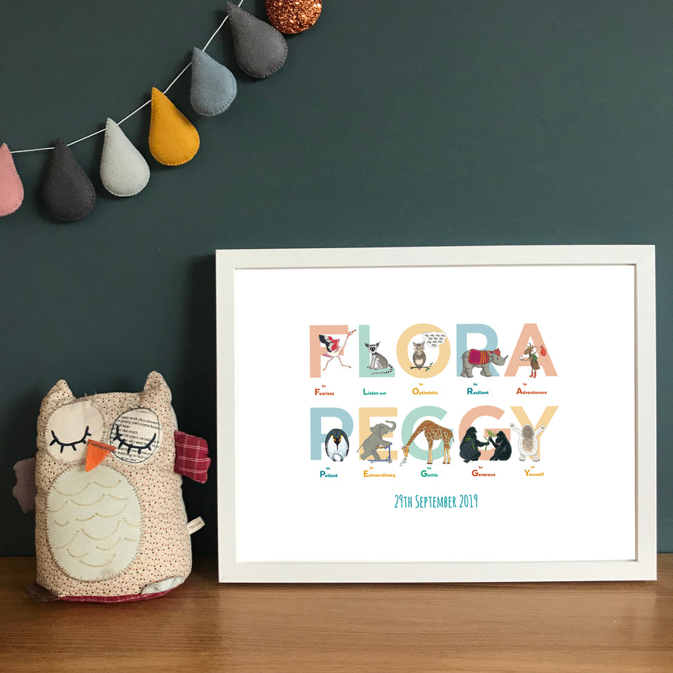 Personalised Name Print: Alphabet of Emotions