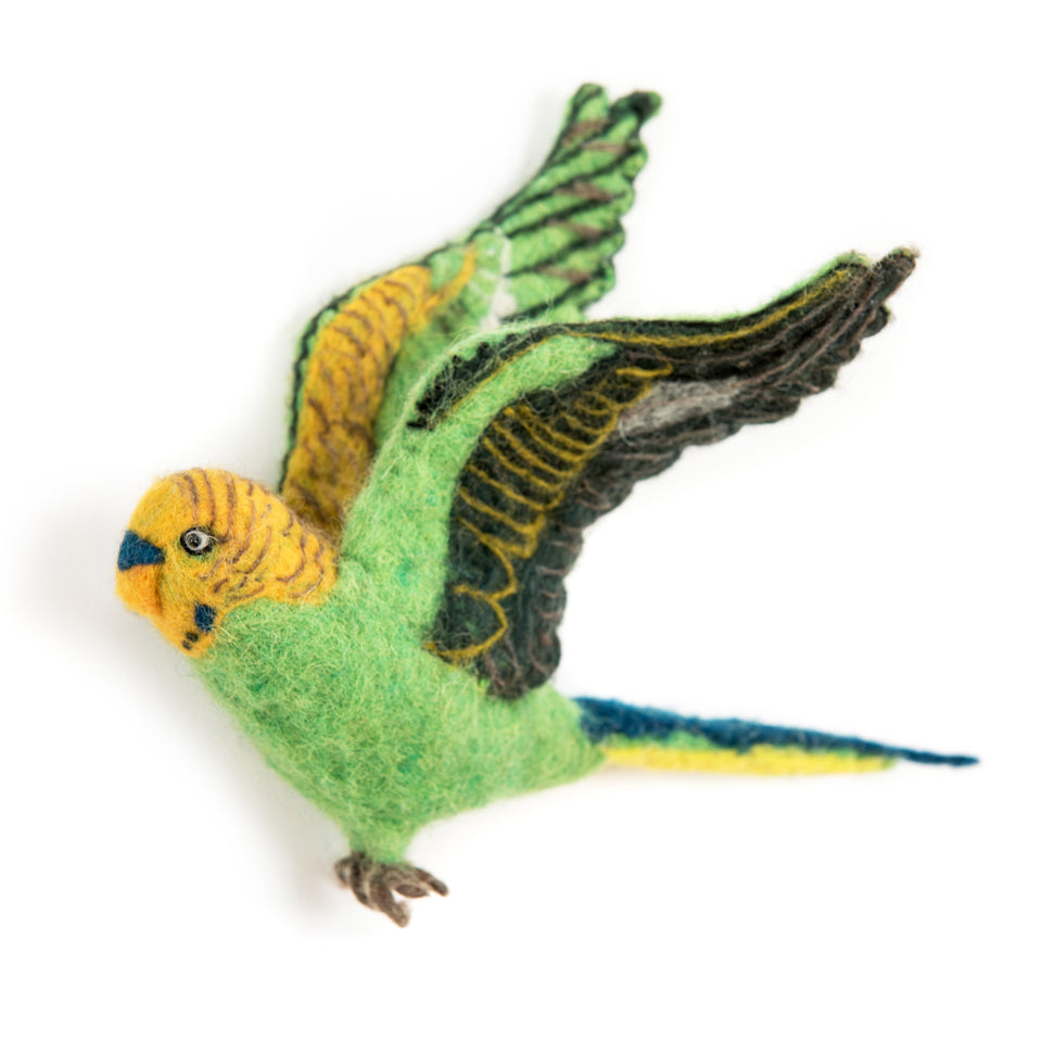 Flying Green Budgies Trio - PomPom