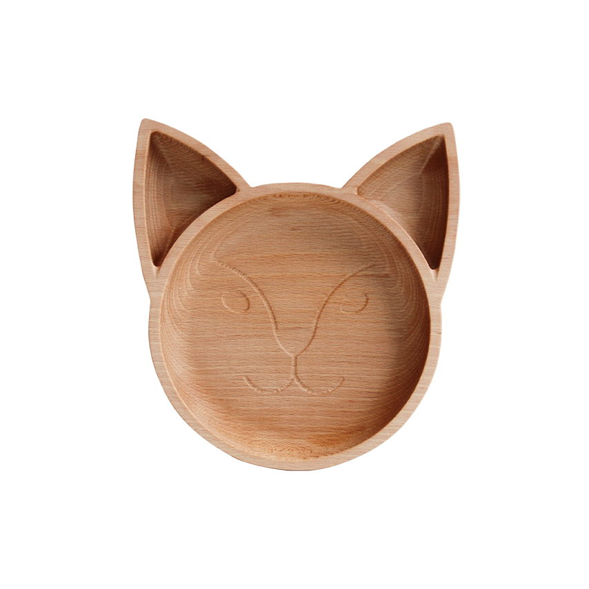 Wooden Fox Plate - PomPom