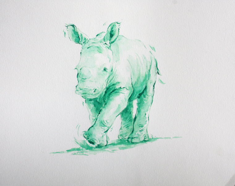 Green Rhino - Limited Edition Print - PomPom