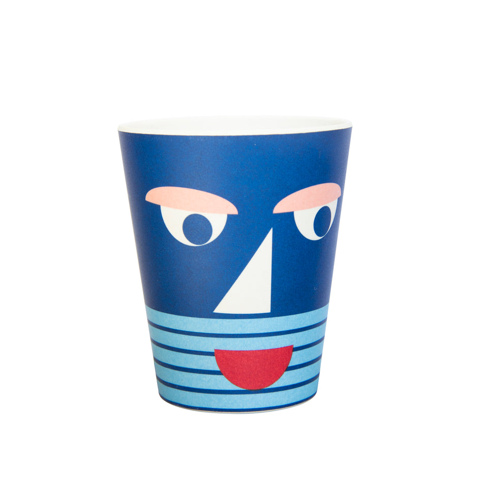 Bamboo Plate and Cup Set - Blue Face