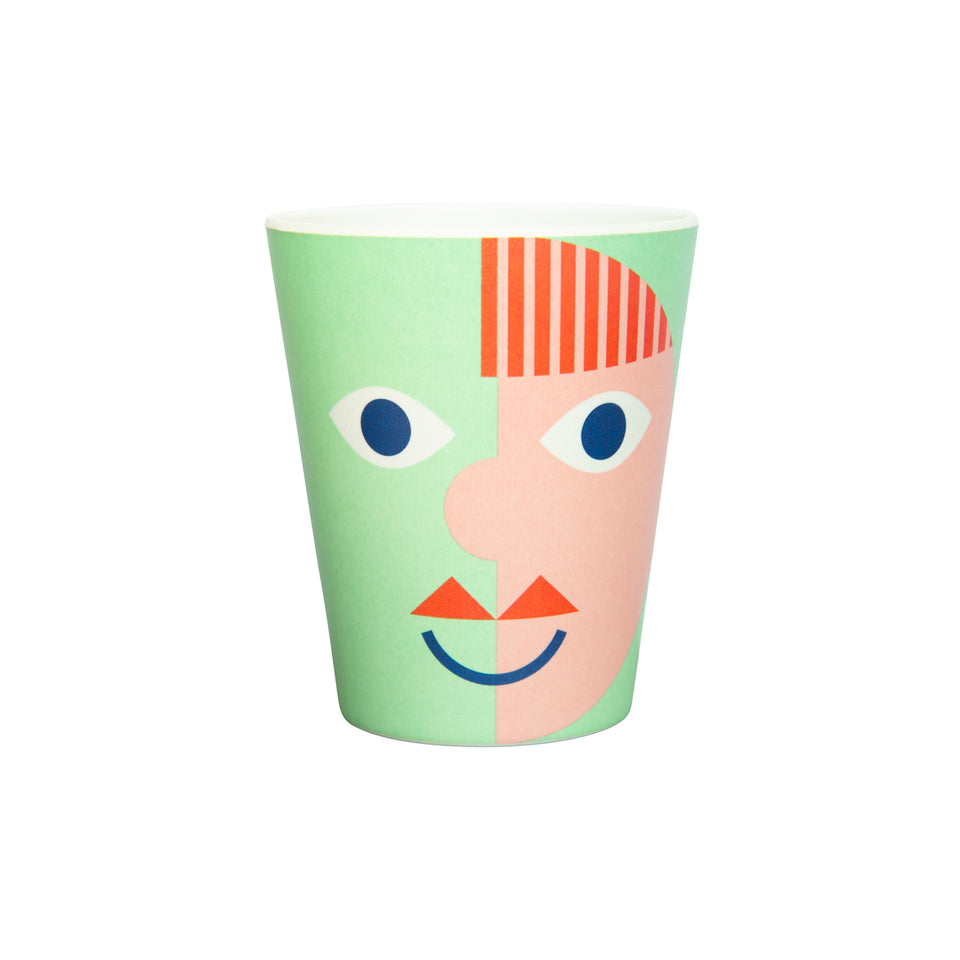 Bamboo Plate and Cup Set - Green face - PomPom