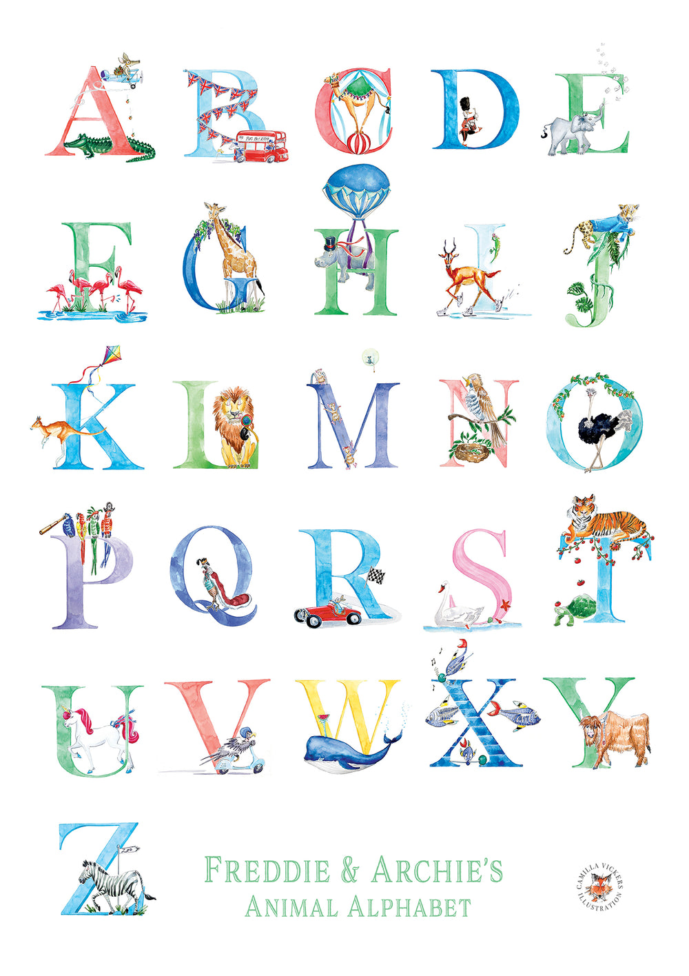 A-Z Children's Print - Personalised - PomPom