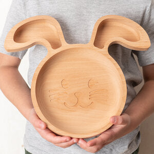 Wooden Rabbit Plate - PomPom