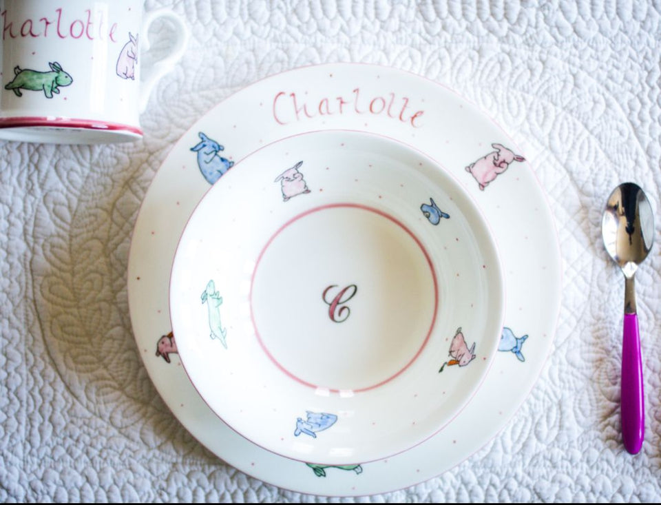 Personalised China Set - Bowl, Plate and Mug