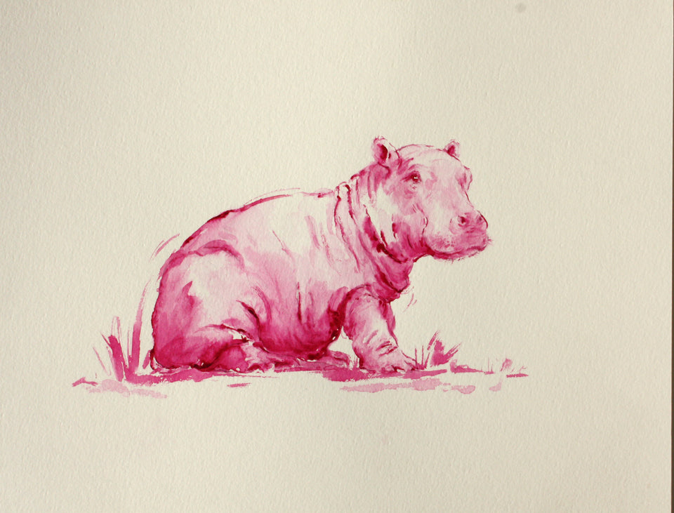 Pink Hippo - Limited Edition Print