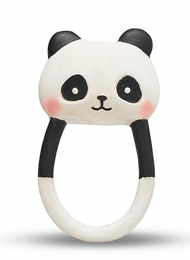 Natural Rubber Panda Baby Teether - PomPom