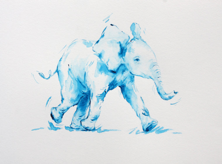 Baby Blue Elephant - Limited Edition Print - PomPom
